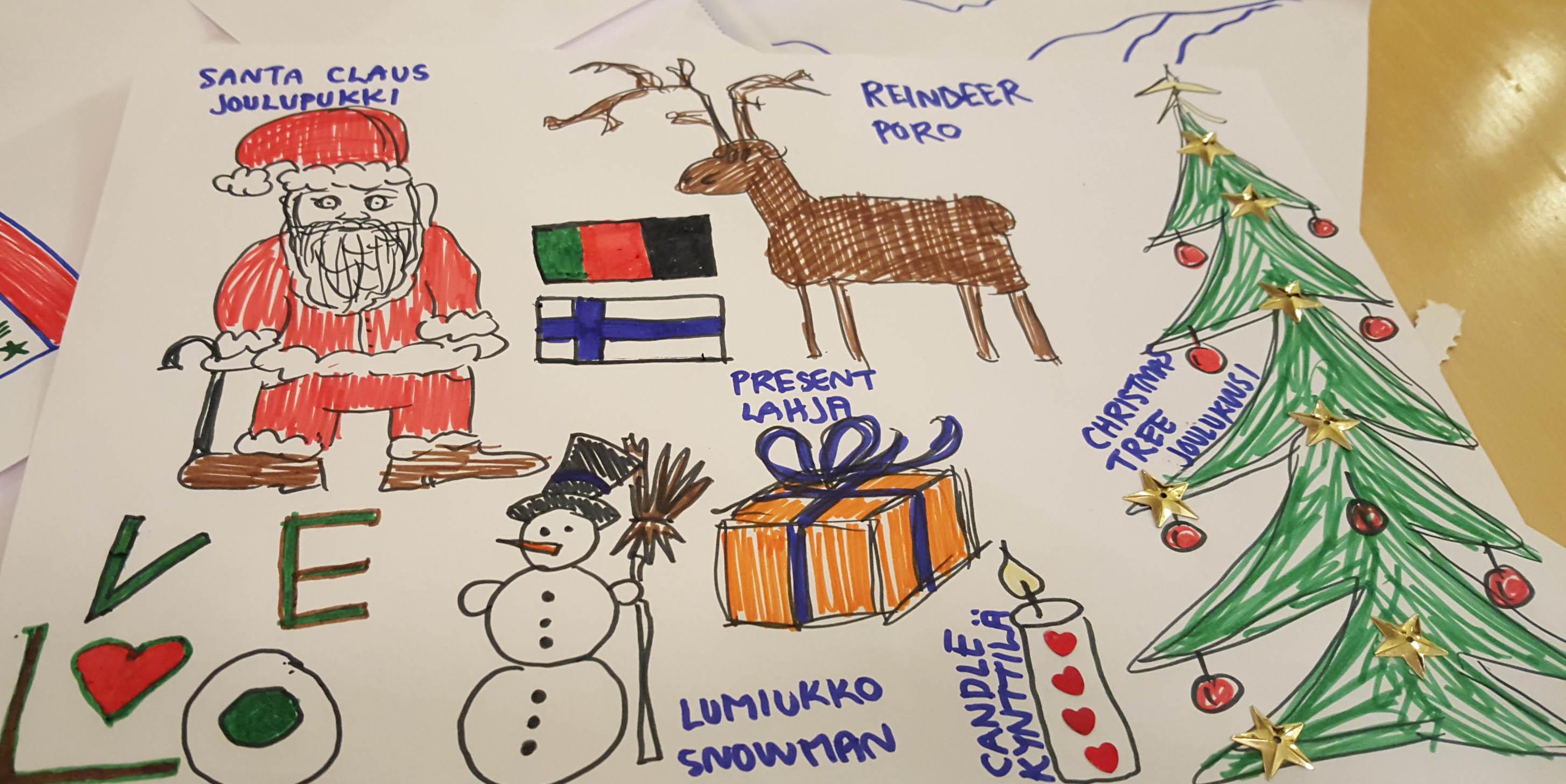 Joulun kuvastoa vastaanottokodin lasten piirustuksissa