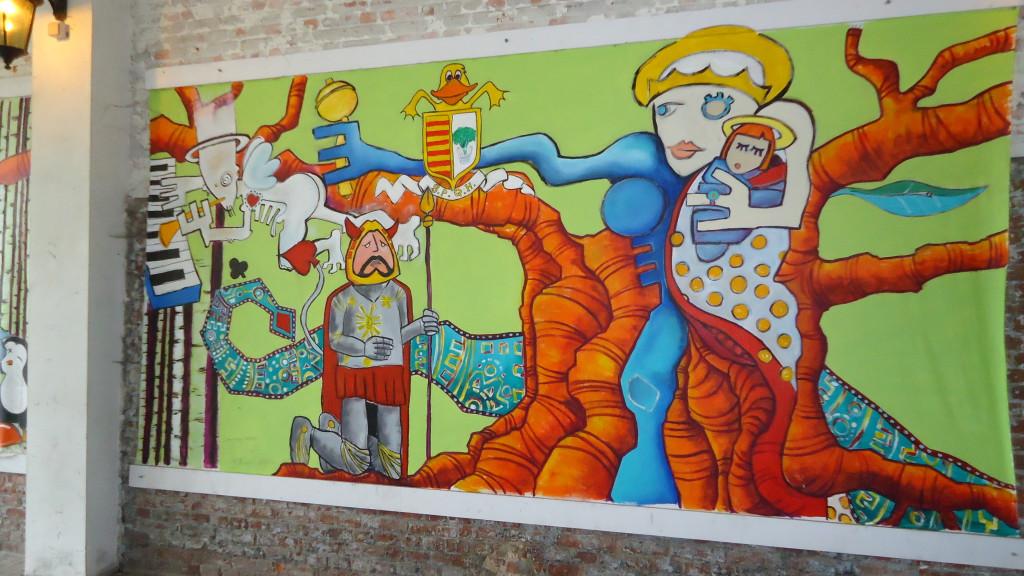 """Graffiti kiertokävelyltä Hasseltissa, joka on ensimmäinen """"City of Happiness"""""""